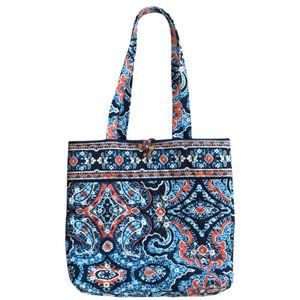 Vera Bradley Marrakesh Large Tote Blue and Orange